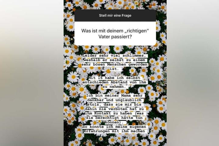 Der Screenshot zeigt die Aussage Vanessas über ihren leiblichen Vater in ihrer Instagram-Story.