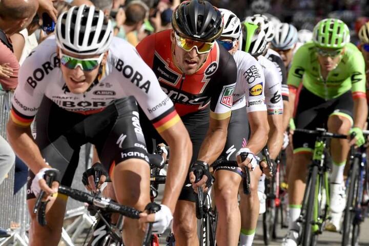 Marcus Burghardt bei der Tempoarbeit. Der Zschopauer hofft bei der aktuellen Tour auf einen Etappensieg. 2008 war ihm ein solcher gelungen.