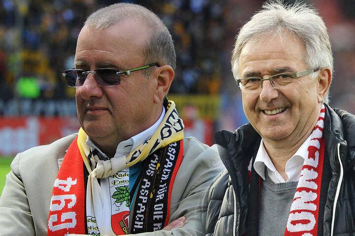 Machen sie bald gemeinsame Sache? Dynamo-Präsident Andreas Ritter (li.) und Großaspach-Präsident Werner Benignus.