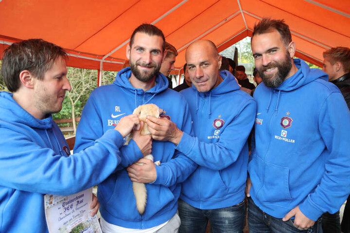 Zum Knuddeln: Wüstenfuchs Filou fühlte sich bei Co-Trainer Robin Lenk offenbar wohl.