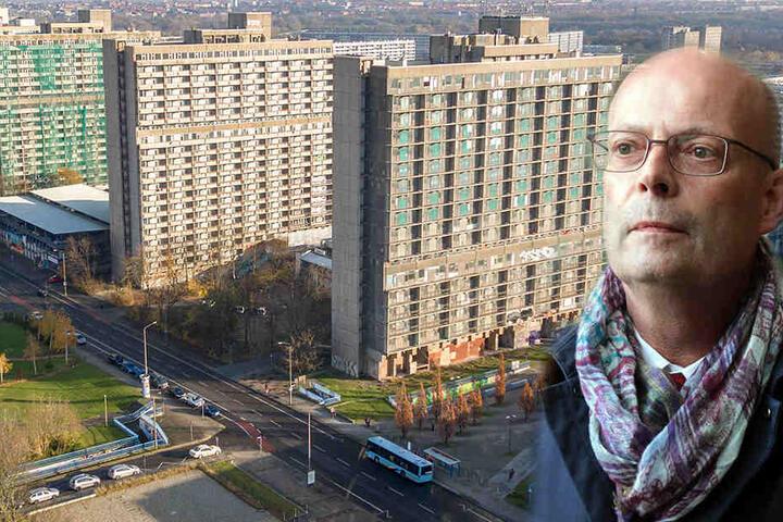 """Auch Halles Oberbürgermeister Bernd Wiegand kennt die Zukunft des Hochhauses """"Scheibe A"""" im Stadtteil Neustadt nicht."""