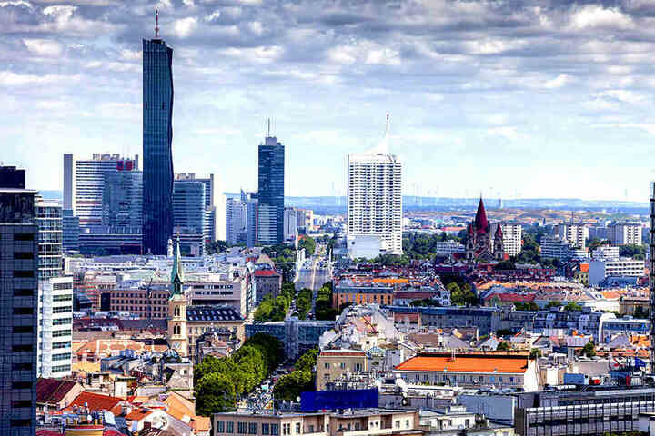 Die Skyline von Wien.