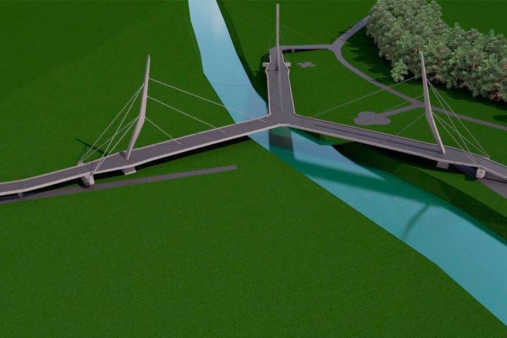 Eine dreiarmige Schrägseilbrücke - so der Entwurf verbindet Deutschland mit Tschechien und Polen.