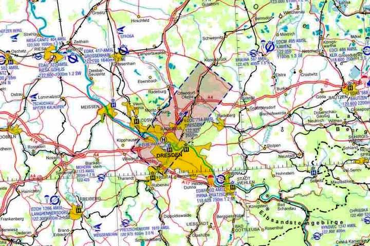 Die Karte zeigt zum Beispiel eine Kontrollzone im Raum  Dresden.