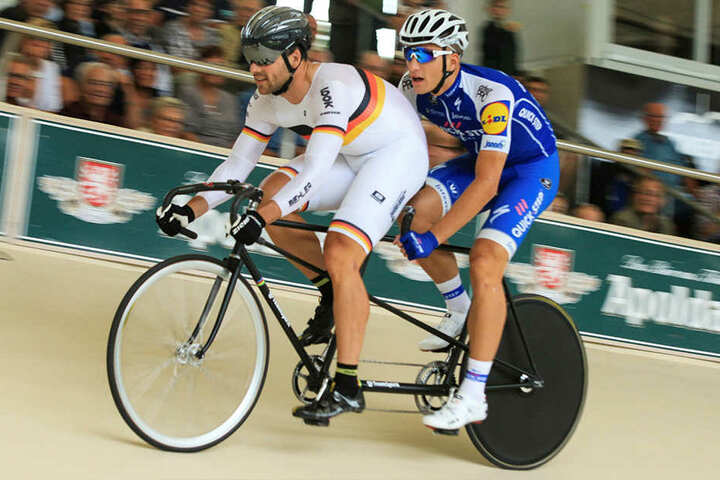 Das Duo Maximilian Levy und Marcel Kittel gewannen das Tandem-Rennen gegen Enders und Dornbach.