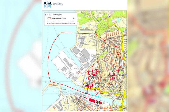 Der auf der Karte rot umrandete Bereich der Stadt Kiel muss am Samstag evakuiert werden.