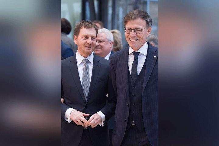 Beim Thema WerteUnion eher nicht auf einer Linie: Michael Kretschmer (44, l.) mit Landtagspräsident Matthias Rößler (64, beide CDU).