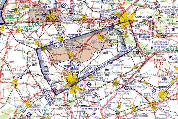 Auch über dem Bereich der Stadt Münster gibt es eine Kontrollzone.