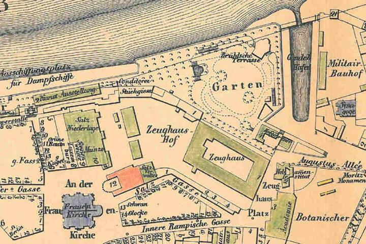 Der Stadtplan von 1849 zeigt noch die Lage des Gondelhafens an der Brühlschen Terrasse.