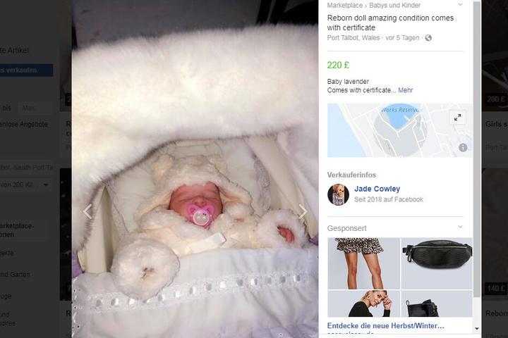 Mit dieser Anzeige verkauft die 24-Jährige jetzt die Puppe bei Facebook.