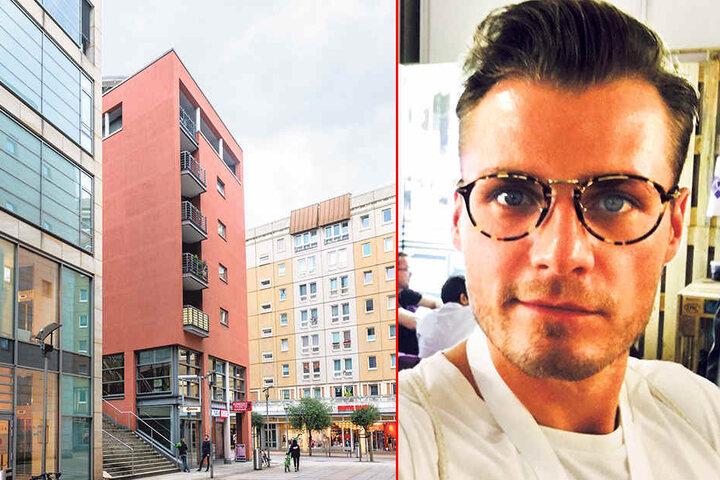 Tobias Börner (31). Links im Bild der Sitz Firmenzentrale in Dresden.