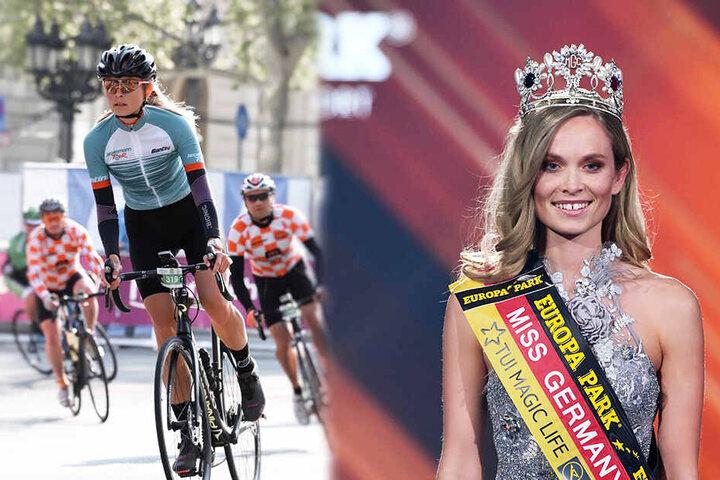 Miss Germany Nadine Berneis startet am Sonntag beim Dresdner Velorace. Im Februar wurde die hübsche Dresdnerin zur schönsten Frau Deutschlands gewählt (r.). (Bildmontage)