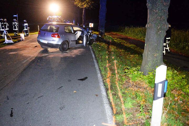 Frontal erwischte der Fahrer den Baum am Straßenrand.