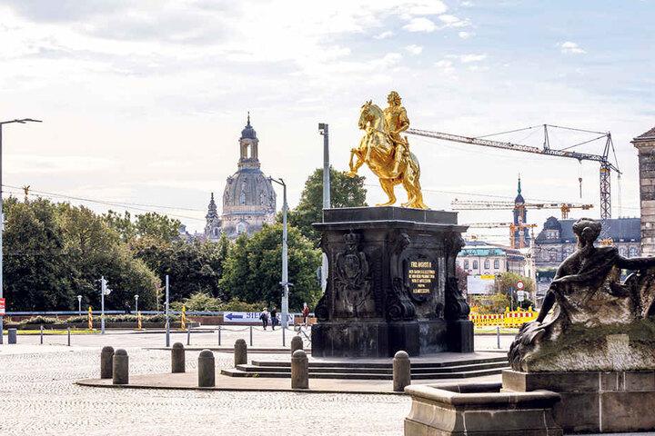 Eine Sichtachse vom Goldenen Reiter in Richtung Frauenkirche soll es auch  künftig geben, so die Hoffung.