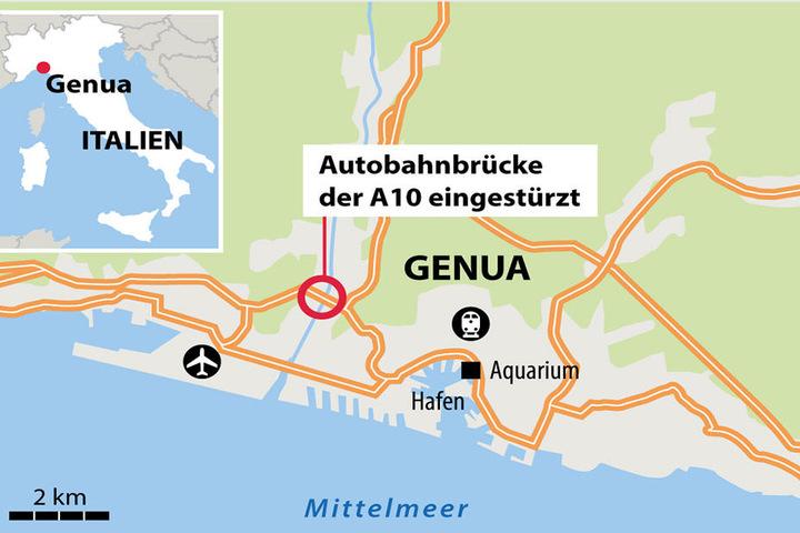 Die Brücke befindet sich in der Hafenstadt Genua.