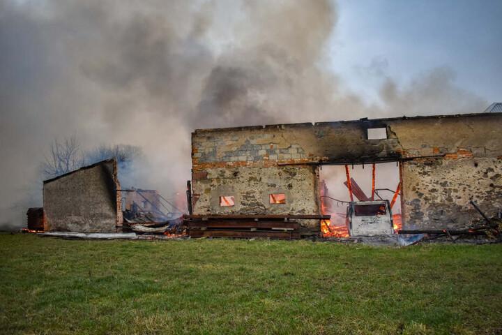 Auch ein in der Scheune abgestellter Transporter brannte komplett aus.