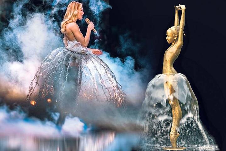 """Das Wasserfall-Kleid von Schlagerstar Helene Fischer (33) wurde für die """"Arena""""-Tour der Sängerin kreiert."""