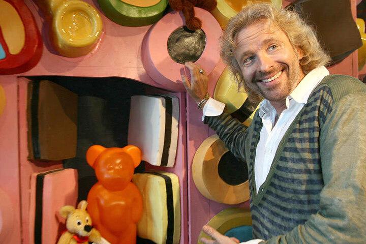 Showmaster Thomas Gottschalk (66) besuchte 2008 die Gummibären-Ausstellung.