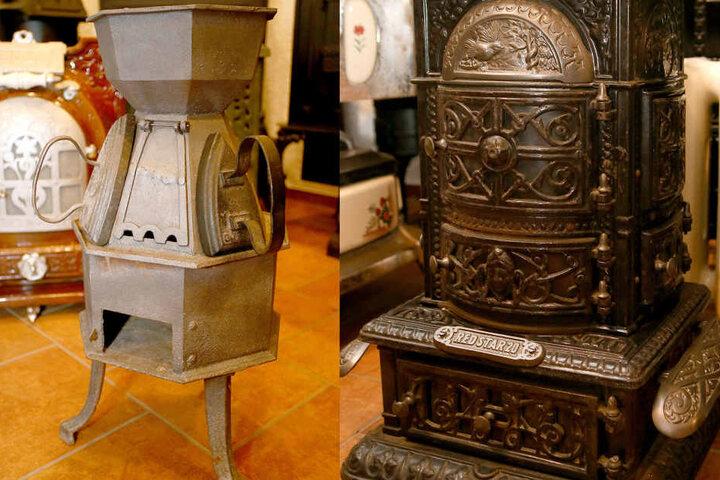 Ein Schneidereiofen (l.) neben einem toll verziertem Regulierofen, der ca. 1900 gebaut wurde.