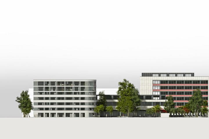 Ein Neubau mit zwei runden und zwei spitzen Ecken gliedert sich dem Areal an.