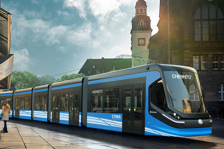 """Diese Skoda-Bahnen mit der """"Delphin-Schnauze"""" rollen ab 2019 durch Chemnitz."""