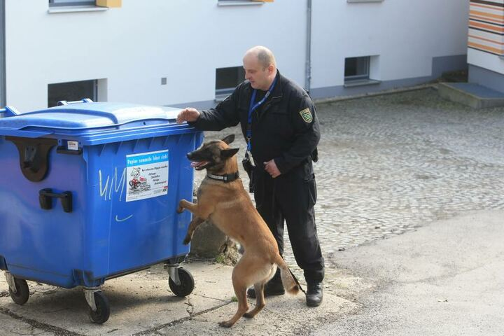Die Polizei durchsucht die Container.