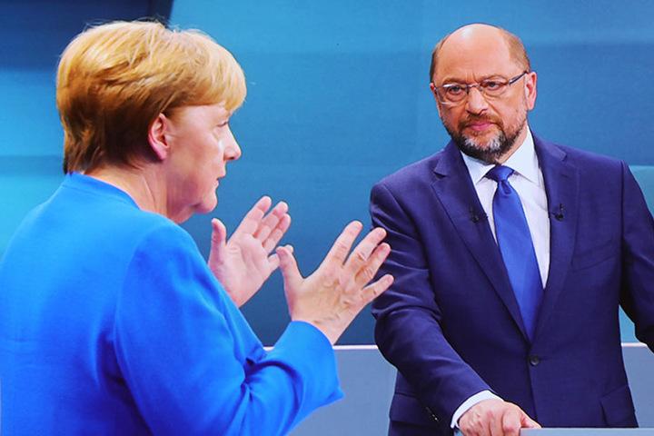 Das bis dato einzige TV-Duell zwischen Angela Merkel (CDU) und Martin Schulz (SPD) vor der Bundestagswahl 2017 wurde gemeinsam vom Ersten, RTL, SAT.1 und ZDF übertragen.