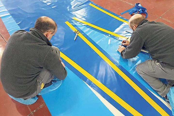 """Von der Planung bis zum fertigen Zelt: 40 """"Canobbio""""-Mitarbeiter arbeiten  rund zwei Monate an einem Auftrag."""