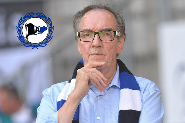 DSC-Präsident Hans-Jürgen Laufer bedankt sich bei den Bielefelder Fans.