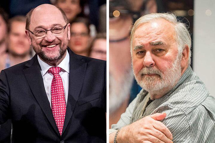 Befürworter der Glatze bei Haarausfall: SPD-Vositzender Maritn Schulz und Star-Friseur Udo Walz.
