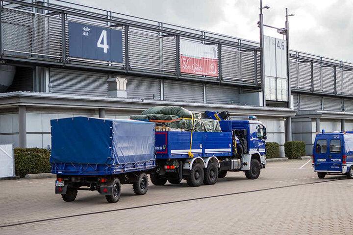 Die Messehalle 4 in Leipzig. Die Kapazität lag bei 1700 Plätzen. Nun ist alles wieder geräumt.