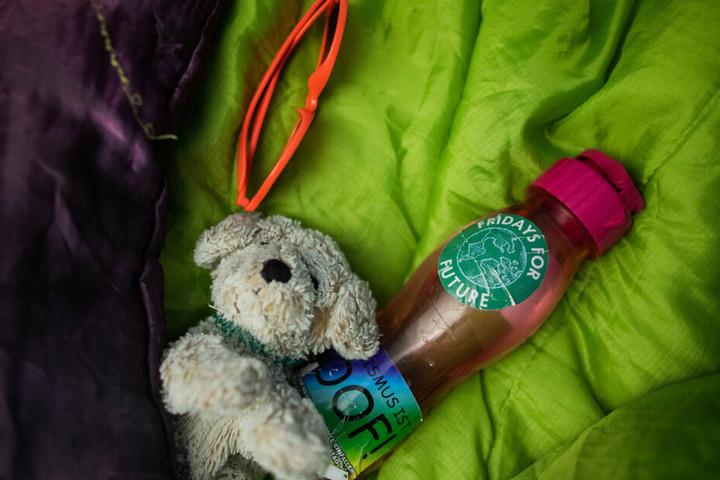 Einige Demonstranten haben ihre Teddys dabei.