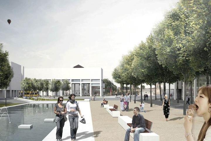 So sollte der Promenadenring entlang der Wallstraße aussehen. Der aktuelle Entwurf plant ohne Wasserflächen, welche die Stadt aber weiter will.