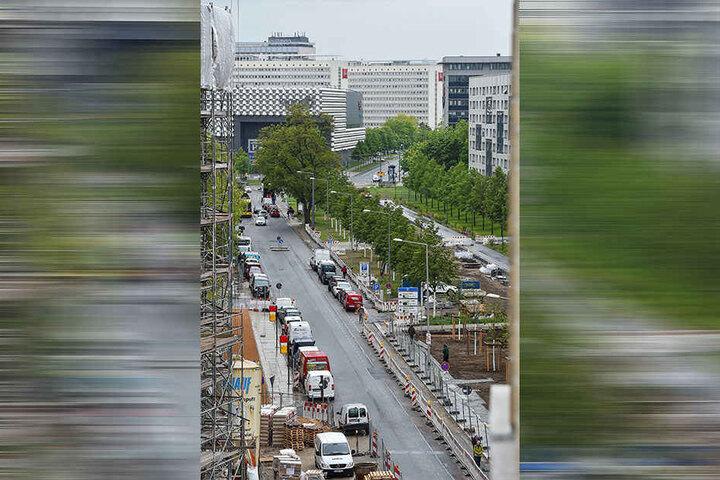 Der westliche Promenadenring: Blick über die Linden-Allee (an Marienstraße) vor zum Dippoldiswalder Platz.