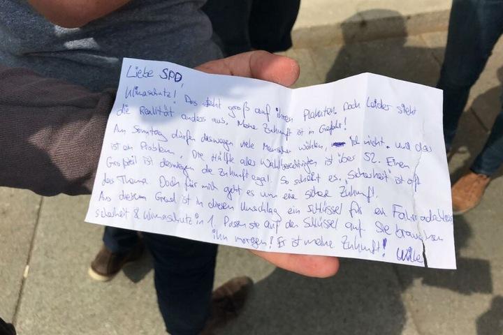 Briefe wie dieser lagen am Samstagmorgen in den Briefkästen der CDU, SPD, Grünen, Linken und FDP.