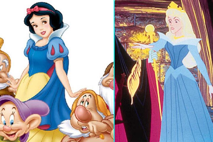 Das blau-gelb-weiß-rote Kleid von Schneewittchen ist ein typisches Merkmal der Prinzessin. Auch Dornröschen zeigt sich im Disney-Film in Blau.