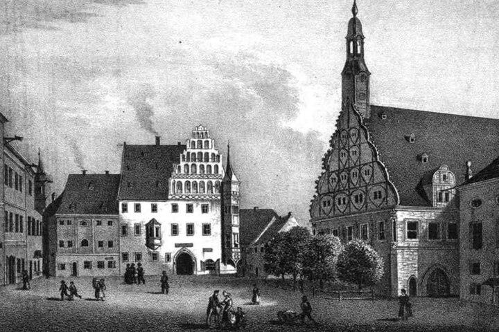 Der Zwickauer Hauptmarkt mit dem Gewandhaus um 1835.