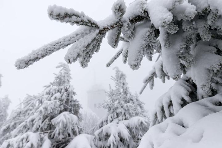 Viel Schnee auf dem Fichtelberg.