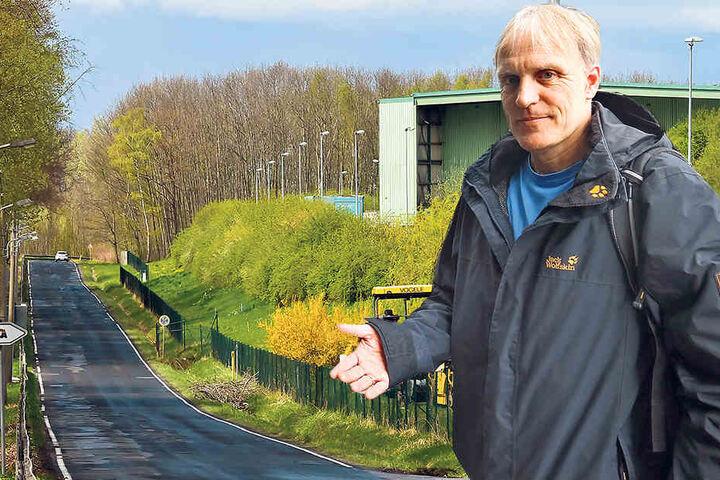 Der Weiße Weg in Chemnitz wird als Standort für eine Müllverbrennungsanlage gehandelt. Stadtrat Bernhard Herrmann (50, Grüne).