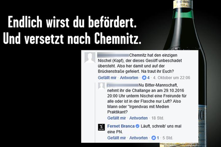 Der Schnapshersteller wurde direkt nach Chemnitz eingeladen.