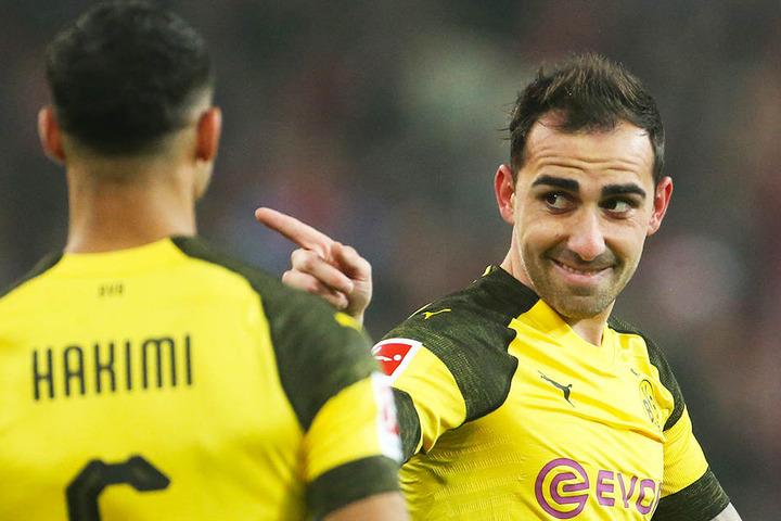 Traf direkt nach seiner Einwechslung: BVB-Stürmerstar Paco Alcacer (r.).