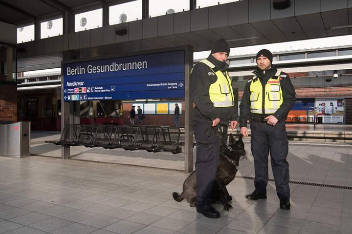 Zwei Sicherheitskräfte am Bahnhof Gesundbrunnen mit einem der 20 extra ausgebildeten Hunde.