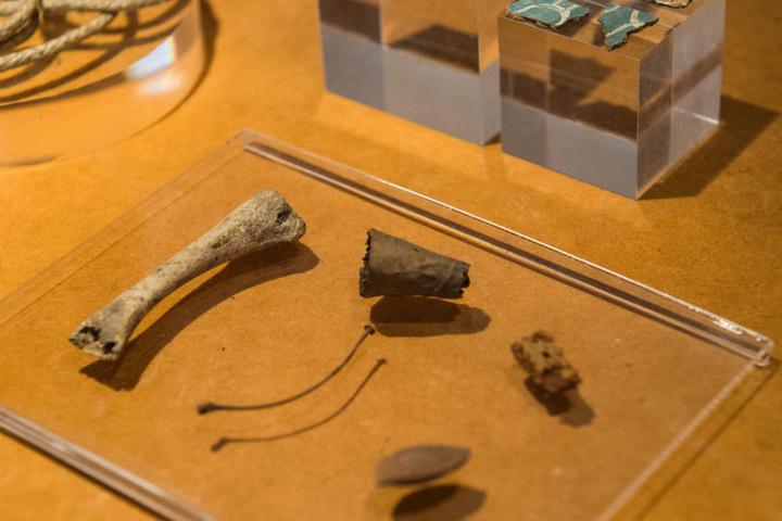 Auch Fundstücke wie ein Hühnerknochen und ein Zigarrenstummel, die bei der Restauration der sogenanntenMünster-Mumiegefunden wurden, werden zu sehen sein.