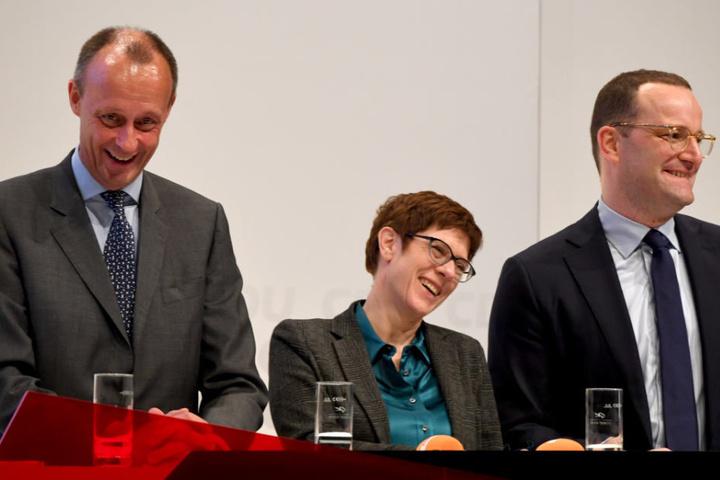 Friedrich Merz, Annegret Kramp-Karrenbauer und Jens Spahn bei der CDU-Generalkonferenz.