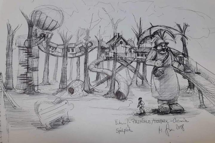 """Mit einem hölzernen """"Himmelszug"""" geht es auf dem neuen Spielplatz an der Pelzmühle bald durch die Wipfel."""