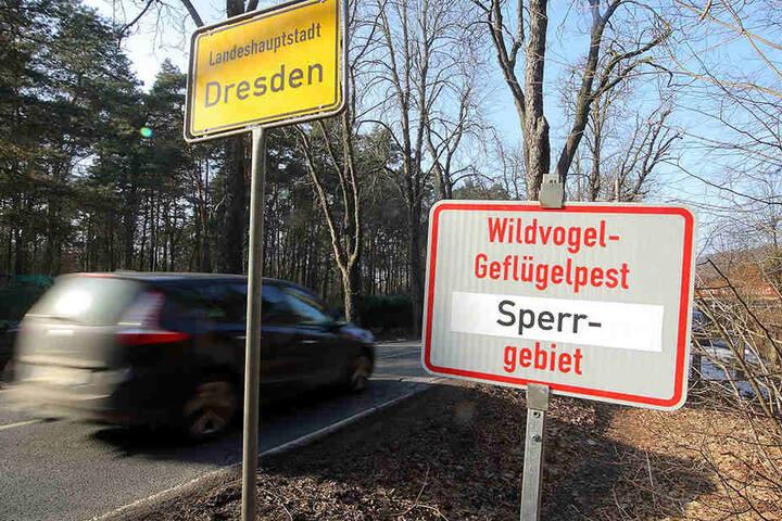 An den Stadtgrenzen weisen Hinweisschilder auf die Sperrzone hin.