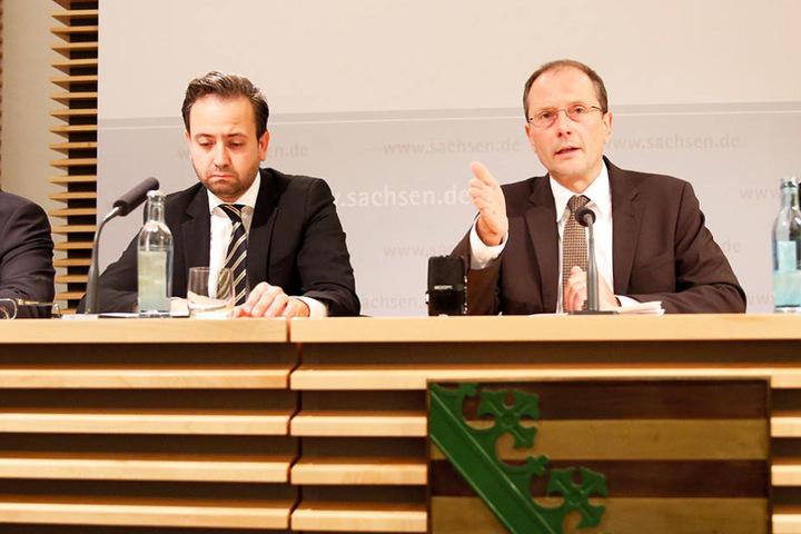 Sebastian Gemkow (38, links) und Markus Ulbig (52, CDU) trafen sich zur Sondersitzung.