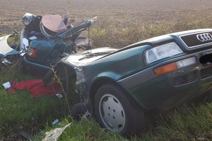 Der Autofahrer überlebte den spektakulären Unfall.