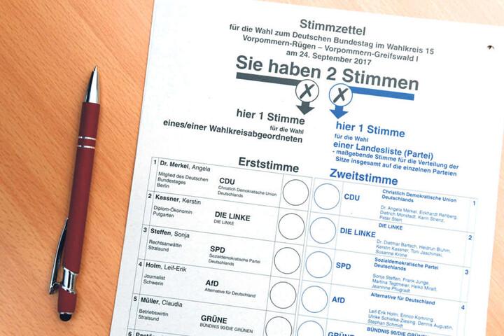 Bevor die Beisitzer den Stimmzettel vergeben, kontrollieren die Schriftführer  die Wahlberechtigung im Wählerverzeichnis.