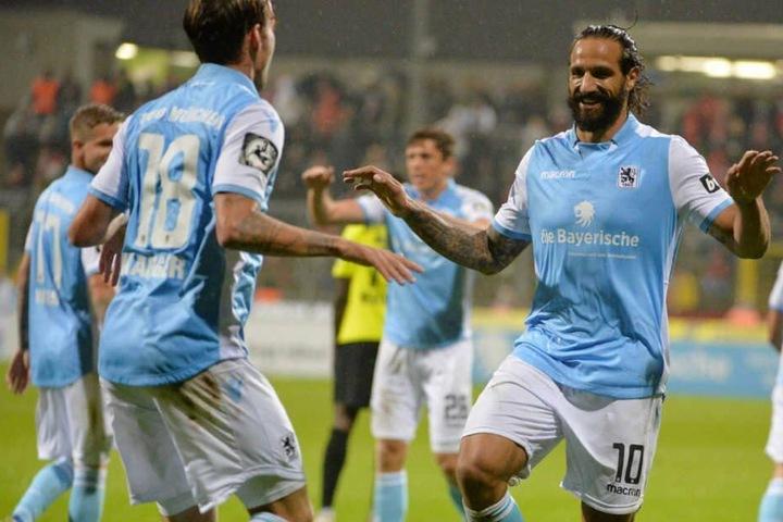 Bessere Zeiten: Adriano Grimaldi (r.) traf mehrfach für den TSV 1860. (Archivbild)